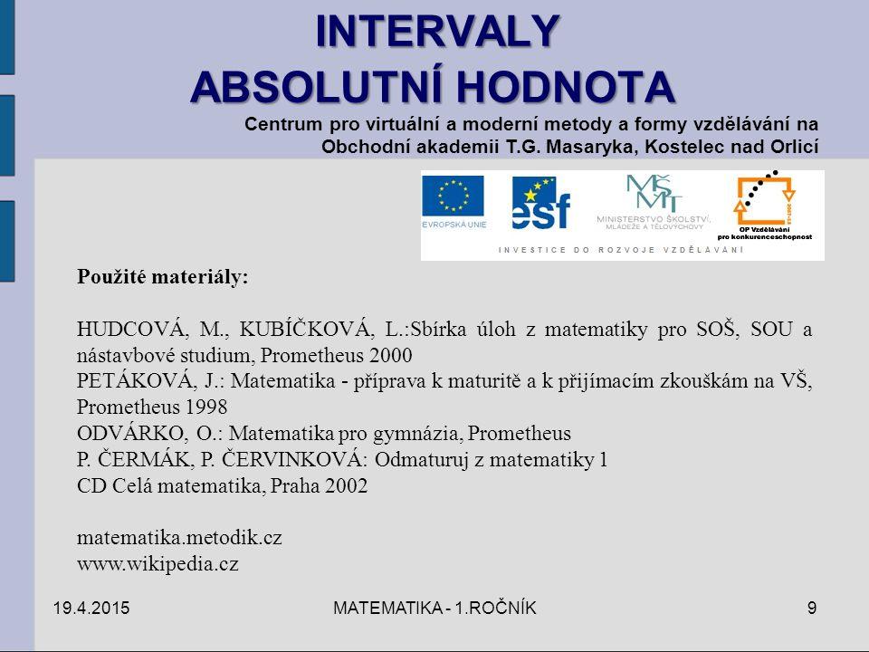 INTERVALY ABSOLUTNÍ HODNOTA