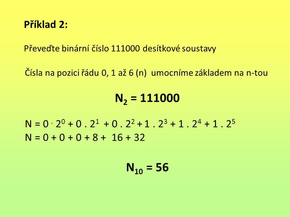 Příklad 2: Převeďte binární číslo 111000 desítkové soustavy