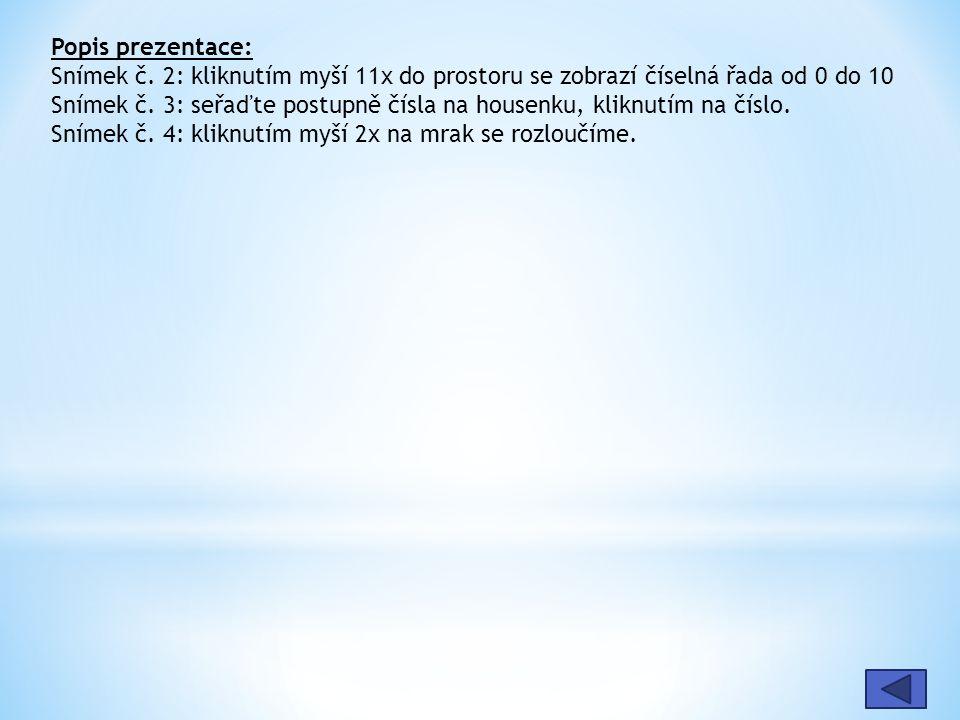 Popis prezentace: Snímek č. 2: kliknutím myší 11x do prostoru se zobrazí číselná řada od 0 do 10.