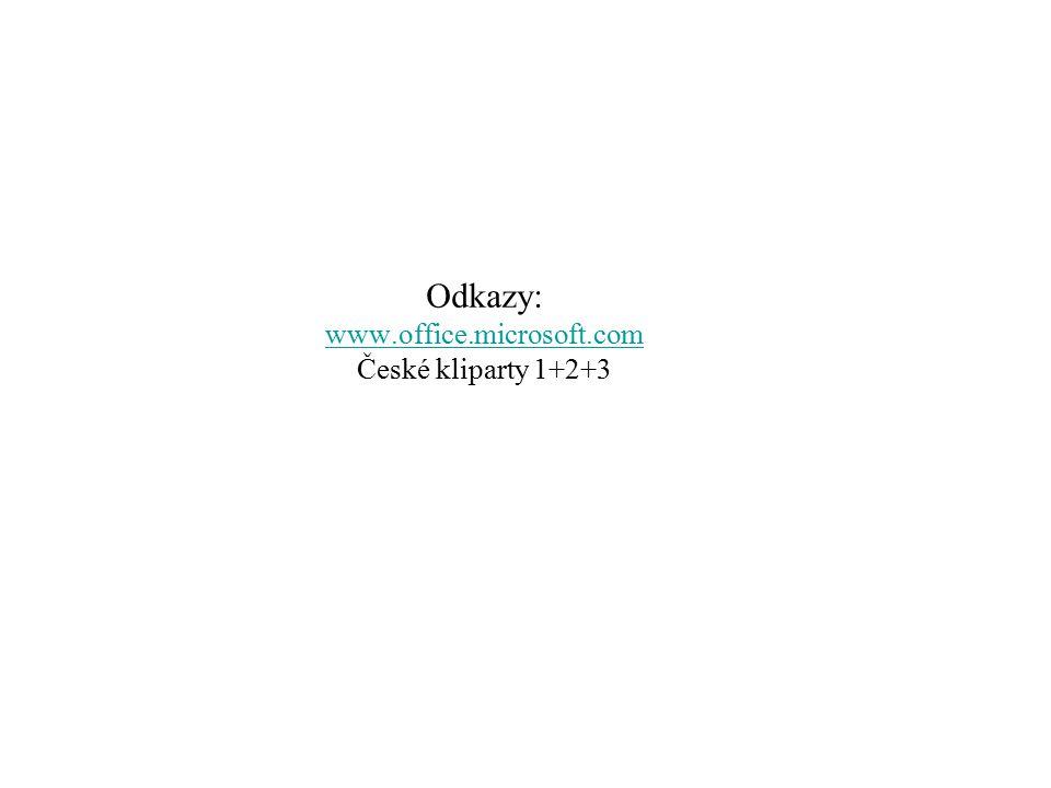 Odkazy: www.office.microsoft.com České kliparty 1+2+3