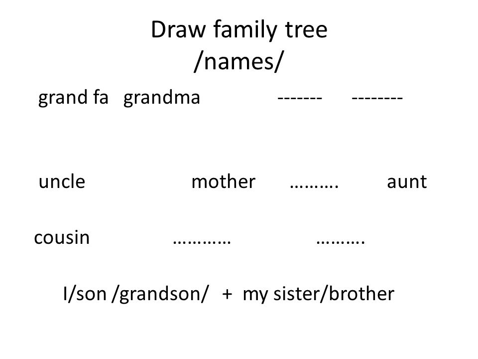 Draw family tree /names/