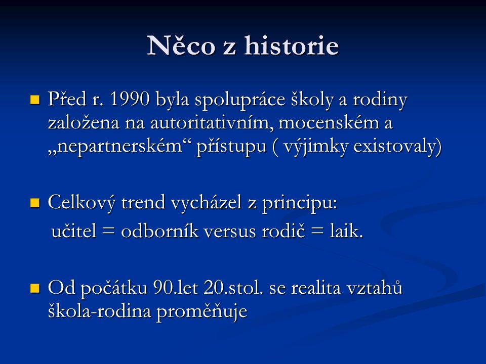 """Něco z historie Před r. 1990 byla spolupráce školy a rodiny založena na autoritativním, mocenském a """"nepartnerském přístupu ( výjimky existovaly)"""