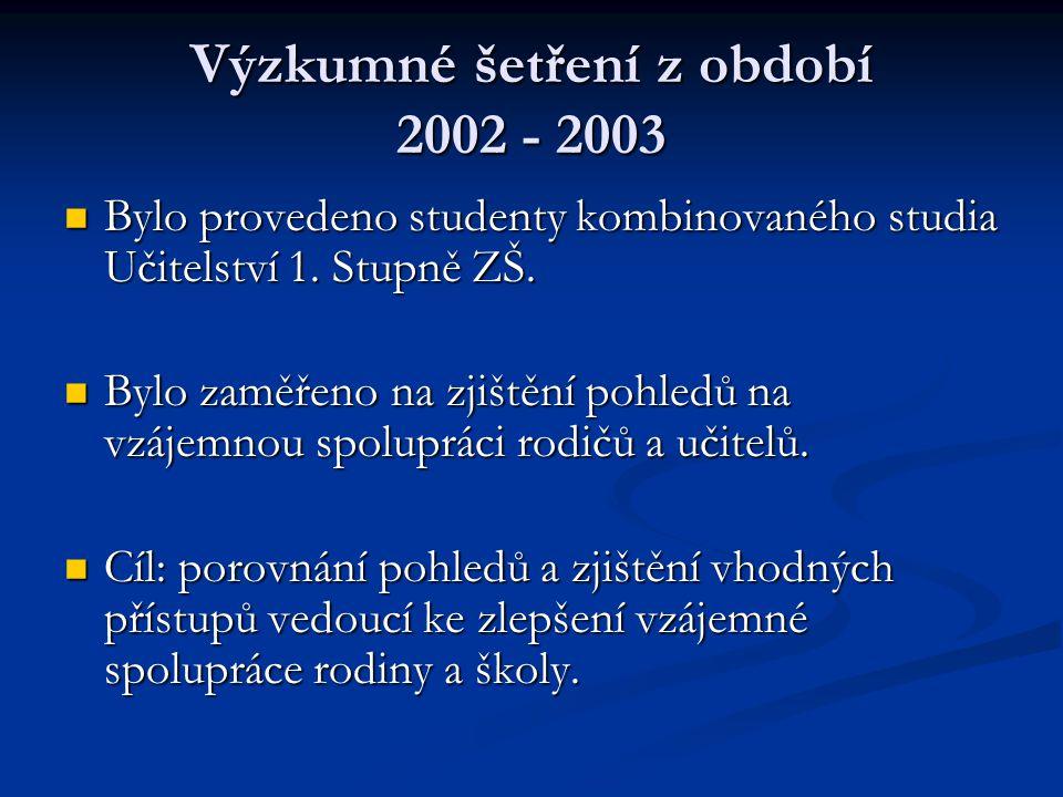 Výzkumné šetření z období 2002 - 2003