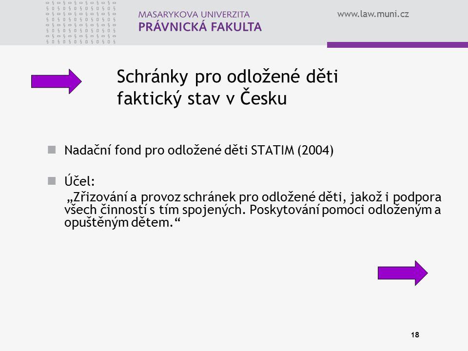 Schránky pro odložené děti faktický stav v Česku
