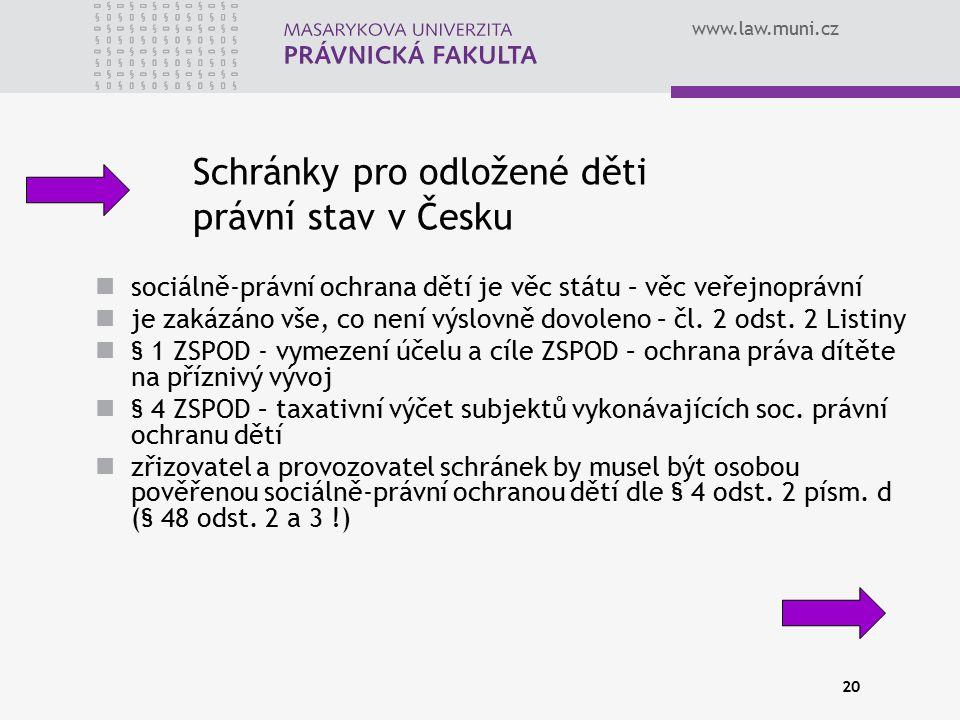 Schránky pro odložené děti právní stav v Česku