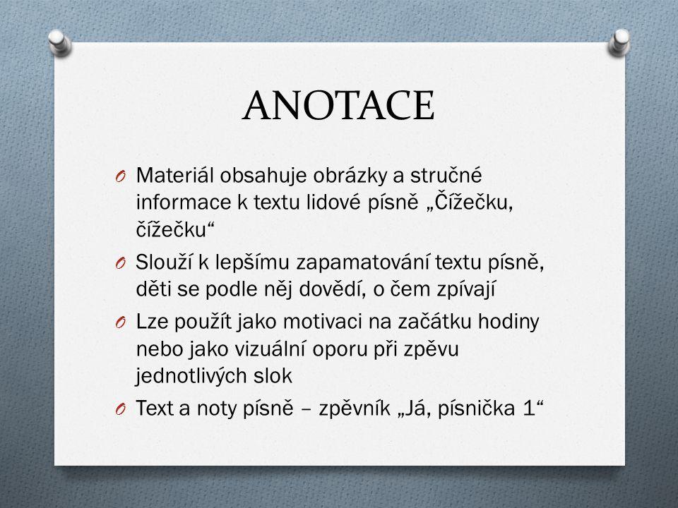 """ANOTACE Materiál obsahuje obrázky a stručné informace k textu lidové písně """"Čížečku, čížečku"""