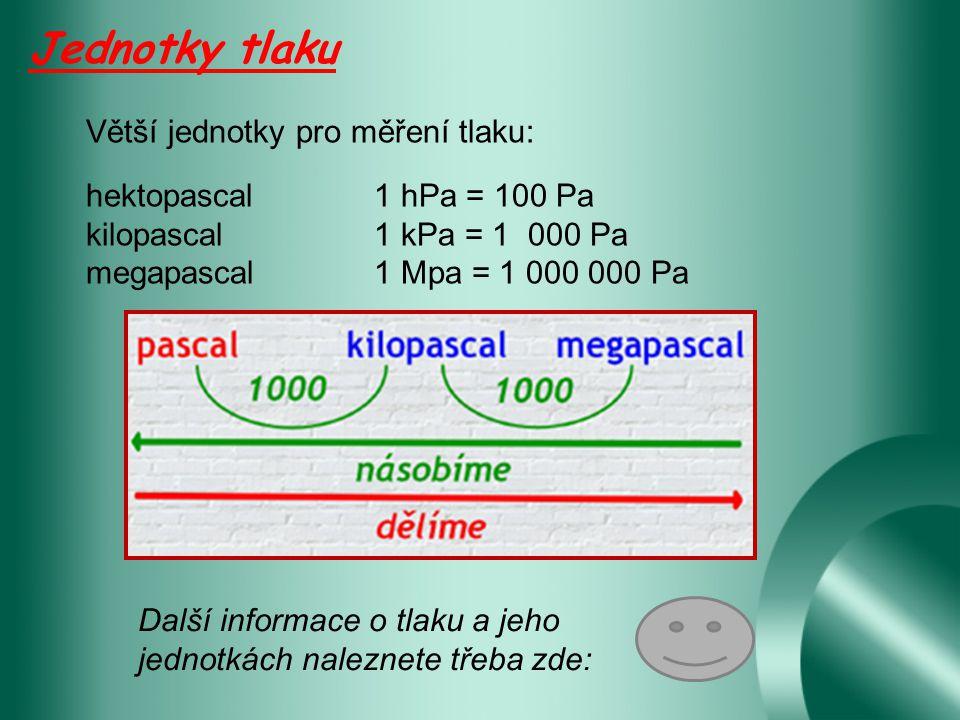 Jednotky tlaku Větší jednotky pro měření tlaku:
