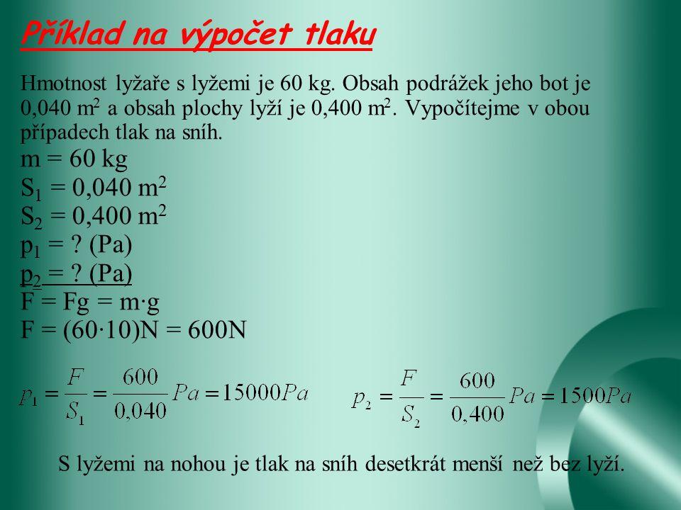 Příklad na výpočet tlaku