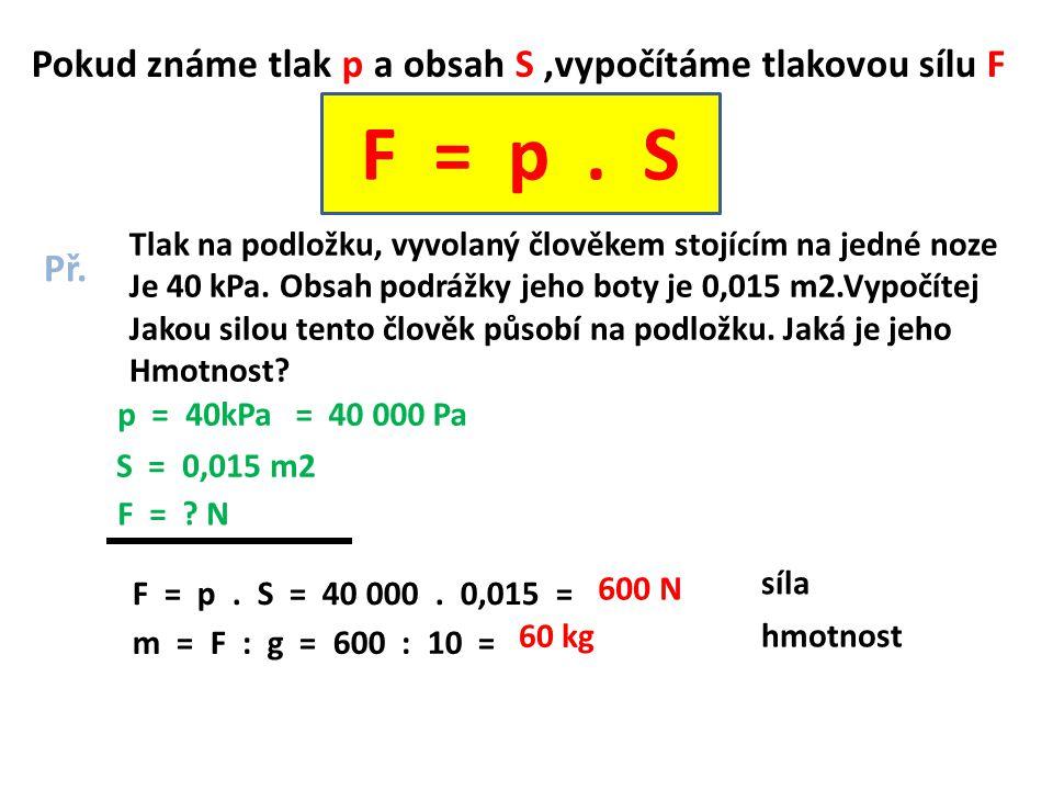 F = p . S Pokud známe tlak p a obsah S ,vypočítáme tlakovou sílu F Př.