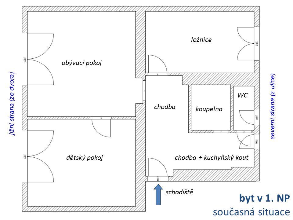 byt v 1. NP současná situace ložnice obývací pokoj WC chodba koupelna