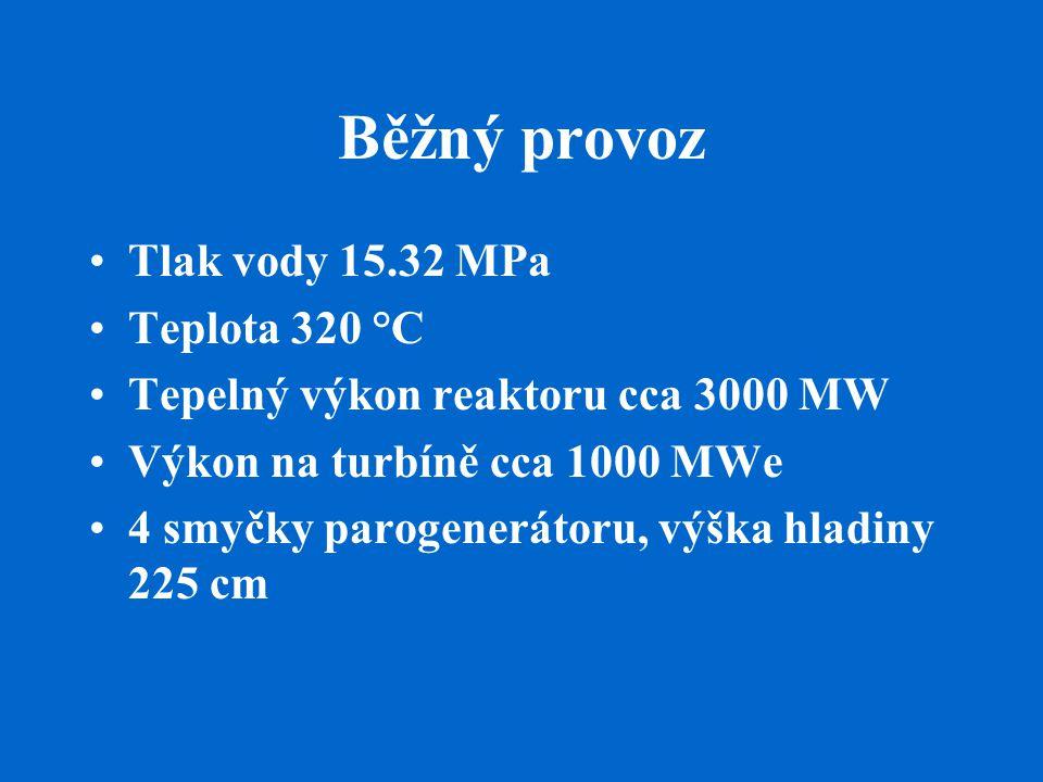Běžný provoz Tlak vody 15.32 MPa Teplota 320 °C