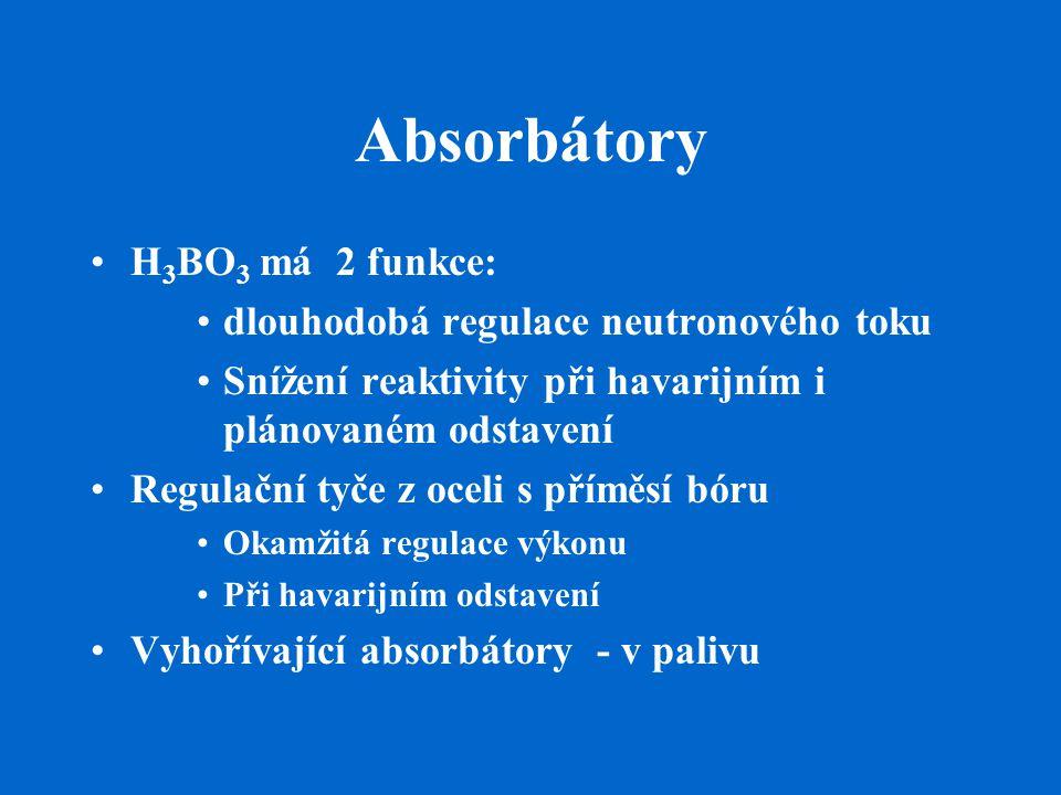 Absorbátory H3BO3 má 2 funkce: dlouhodobá regulace neutronového toku