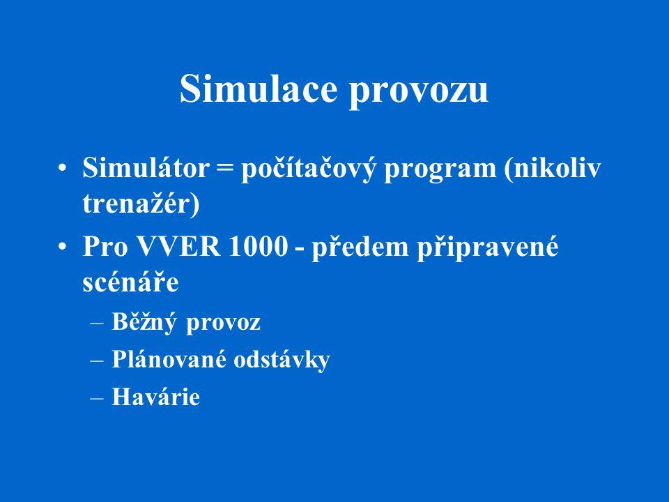 Simulace provozu Simulátor = počítačový program (nikoliv trenažér)