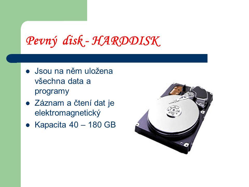 Pevný disk - HARDDISK Jsou na něm uložena všechna data a programy