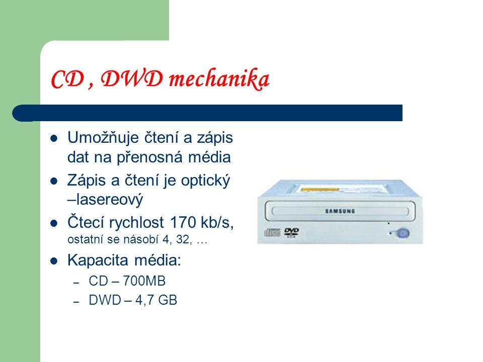 CD , DWD mechanika Umožňuje čtení a zápis dat na přenosná média