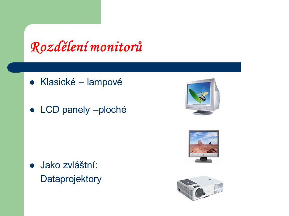 Rozdělení monitorů Klasické – lampové LCD panely –ploché