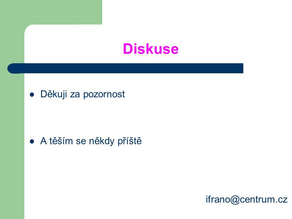 Diskuse Děkuji za pozornost A těším se někdy příště ifrano@centrum.cz