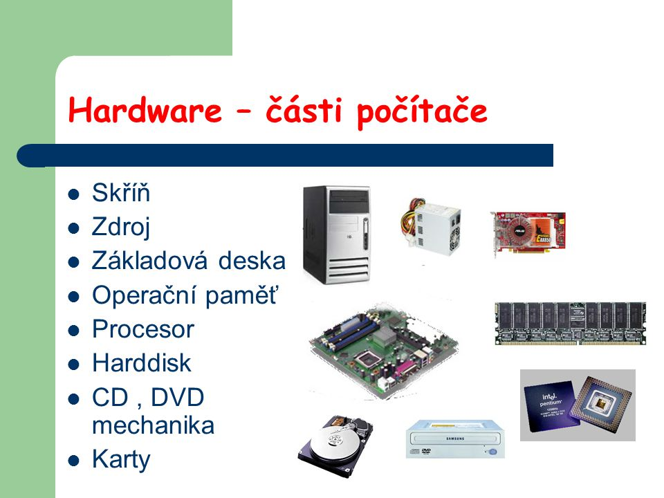Hardware – části počítače