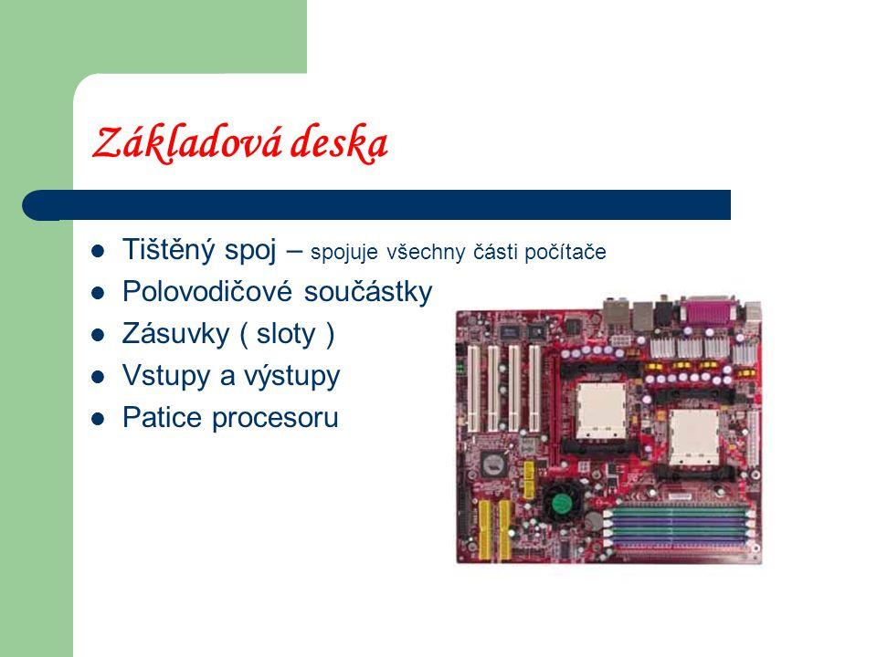 Základová deska Tištěný spoj – spojuje všechny části počítače