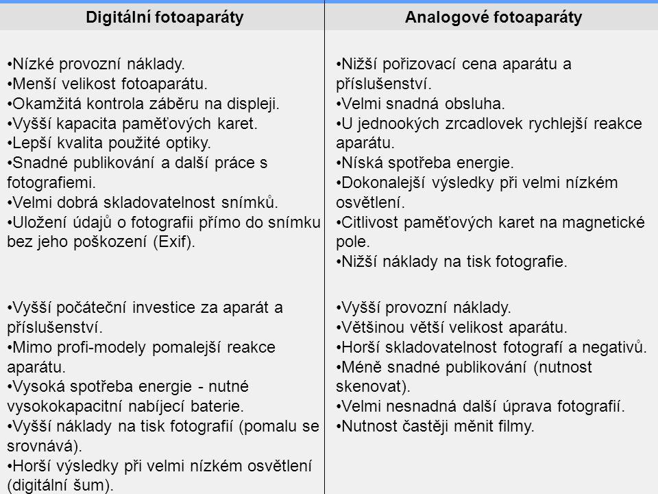 Digitální fotoaparáty Analogové fotoaparáty
