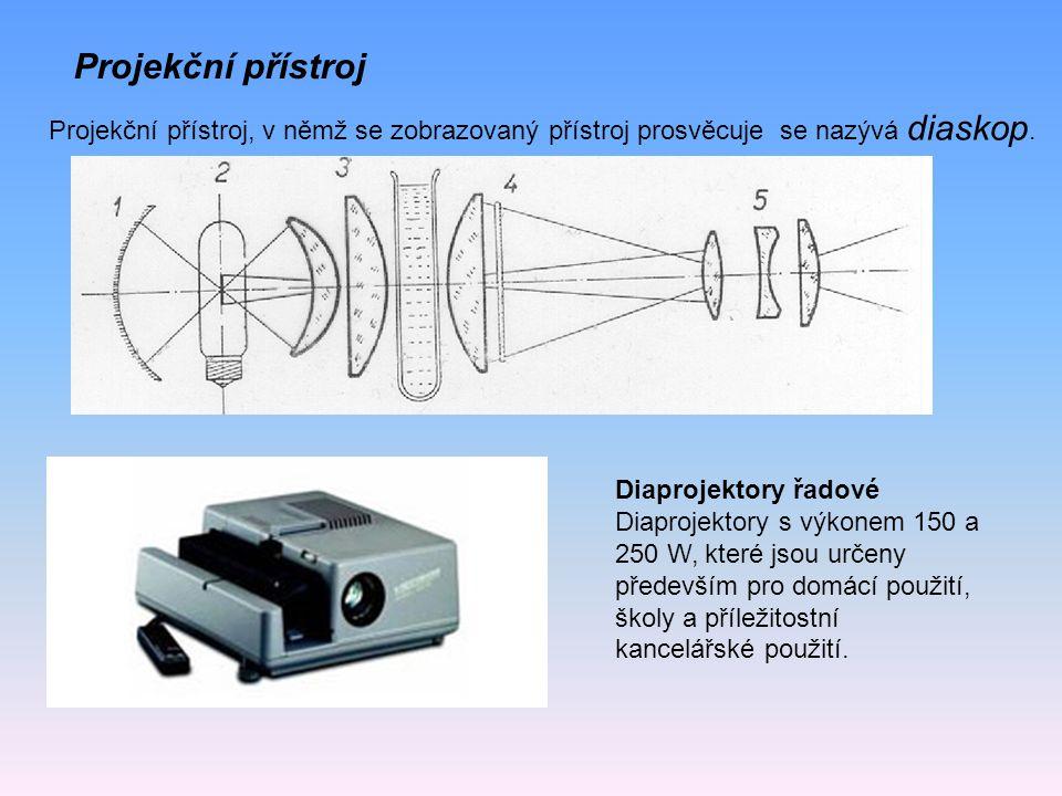 Projekční přístroj Projekční přístroj, v němž se zobrazovaný přístroj prosvěcuje se nazývá diaskop.