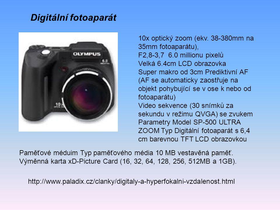 Digitální fotoaparát 10x optický zoom (ekv. 38-380mm na 35mm fotoaparátu), F2,8-3,7 6.0 millionu pixelů.