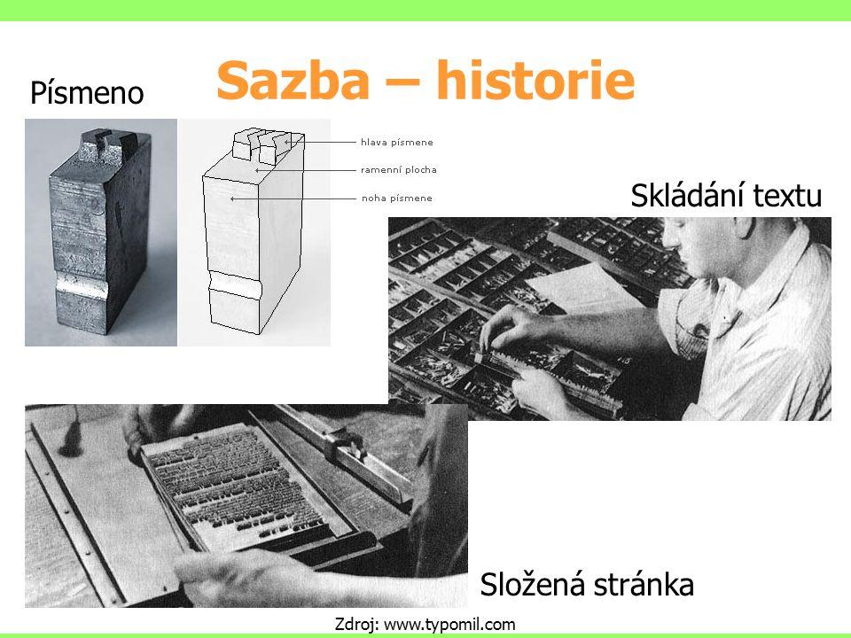 Sazba – historie Písmeno Skládání textu Složená stránka