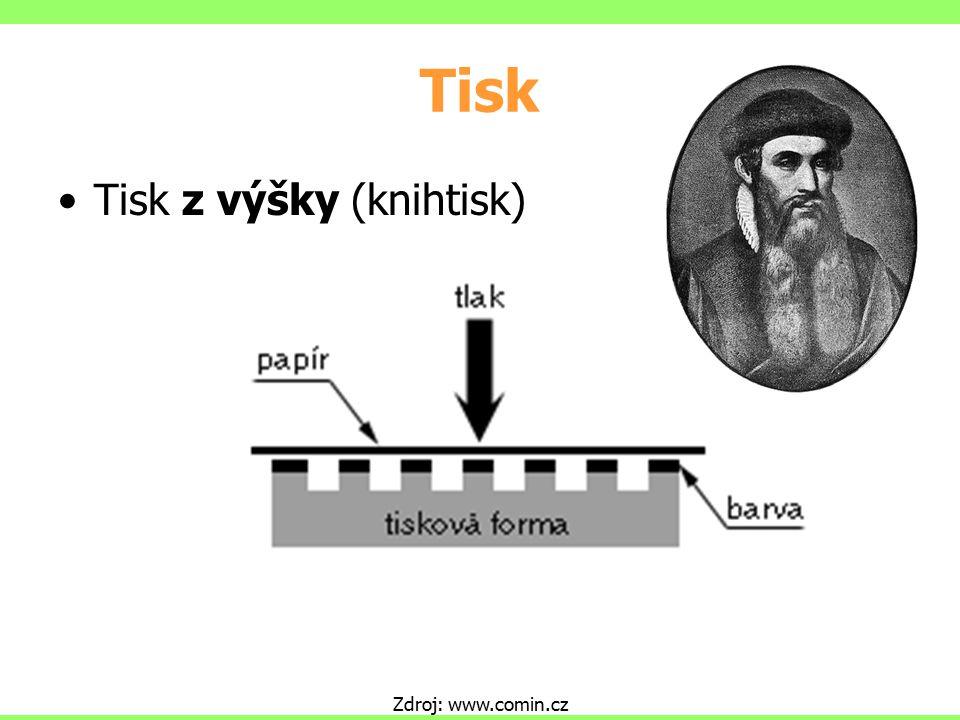 Tisk Tisk z výšky (knihtisk) Zdroj: www.comin.cz