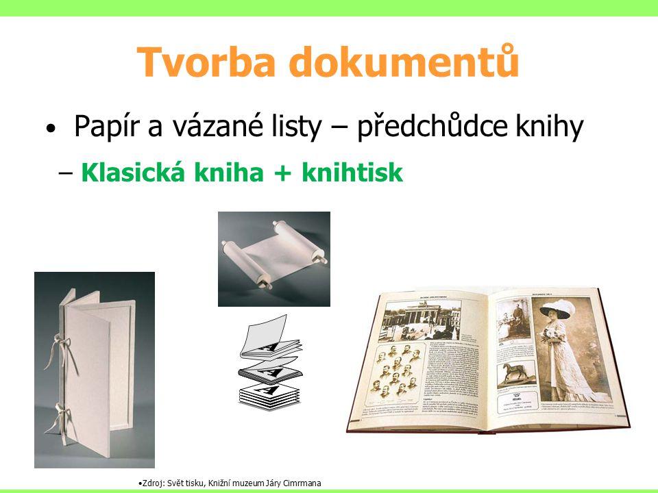 Tvorba dokumentů Papír a vázané listy – předchůdce knihy