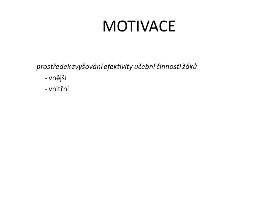 MOTIVACE - prostředek zvyšování efektivity učební činnosti žáků