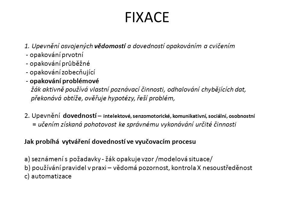 FIXACE 1. Upevnění osvojených vědomostí a dovedností opakováním a cvičením. - opakování prvotní. - opakování průběžné.