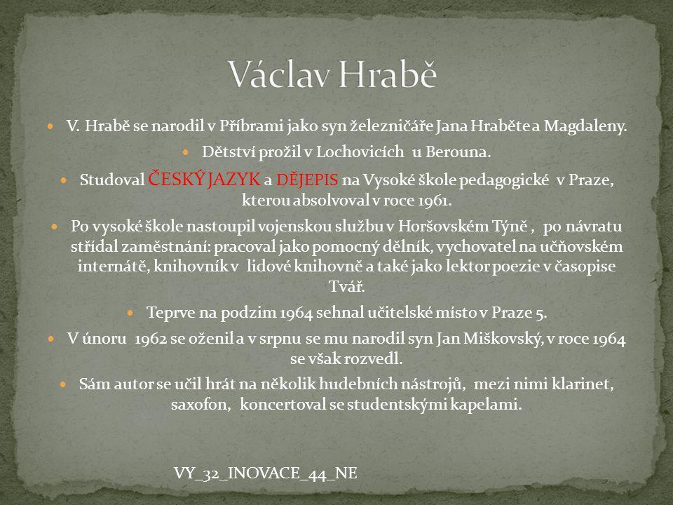 Václav Hrabě V. Hrabě se narodil v Příbrami jako syn železničáře Jana Hraběte a Magdaleny. Dětství prožil v Lochovicích u Berouna.