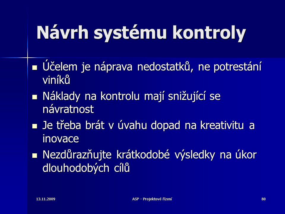 Návrh systému kontroly