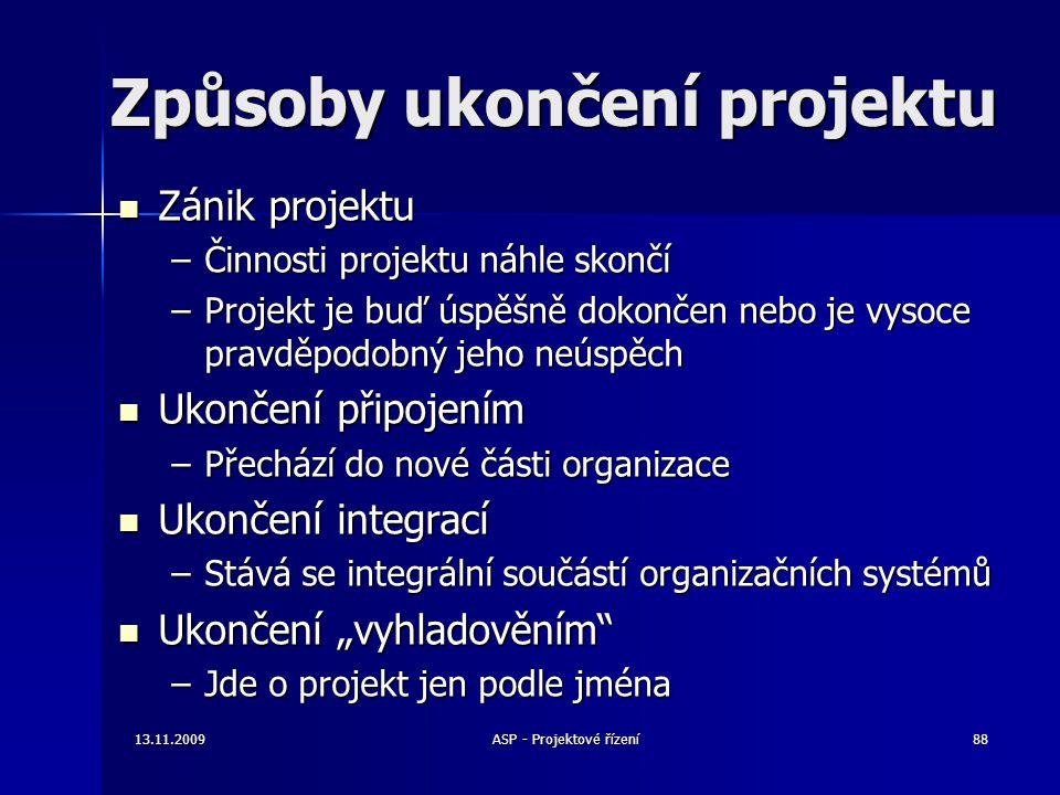 Způsoby ukončení projektu