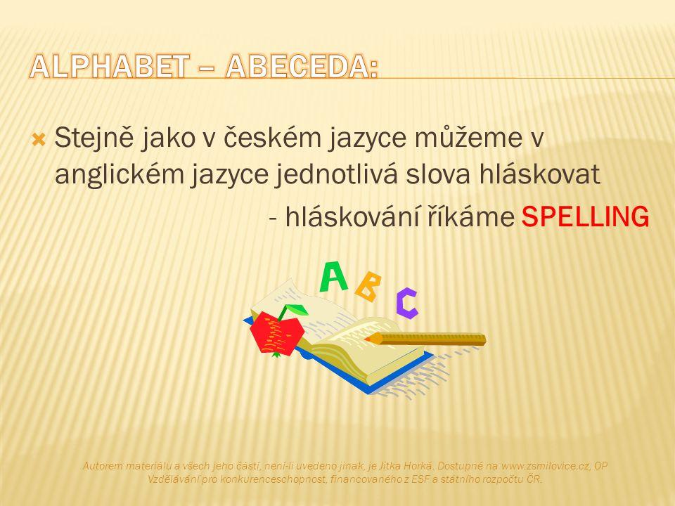 ALPHABET – ABECEDA: Stejně jako v českém jazyce můžeme v anglickém jazyce jednotlivá slova hláskovat.