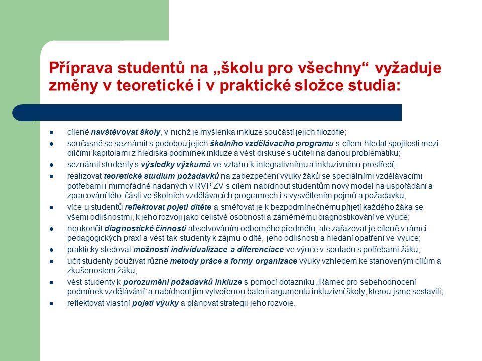 """Příprava studentů na """"školu pro všechny vyžaduje změny v teoretické i v praktické složce studia:"""