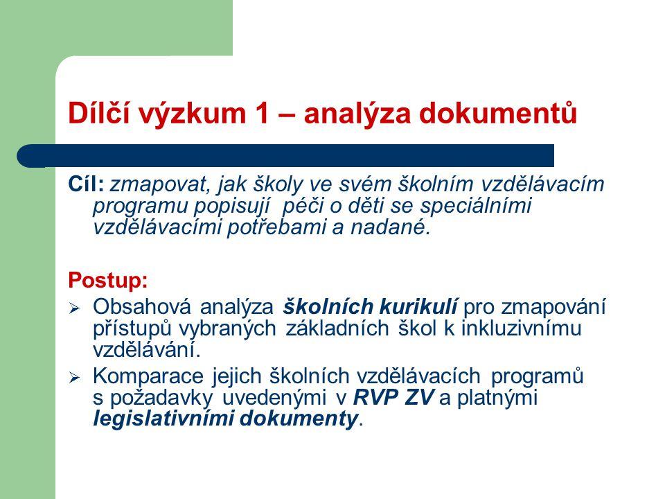 Dílčí výzkum 1 – analýza dokumentů