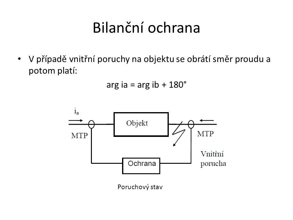 Bilanční ochrana V případě vnitřní poruchy na objektu se obrátí směr proudu a potom platí: arg ia = arg ib + 180°