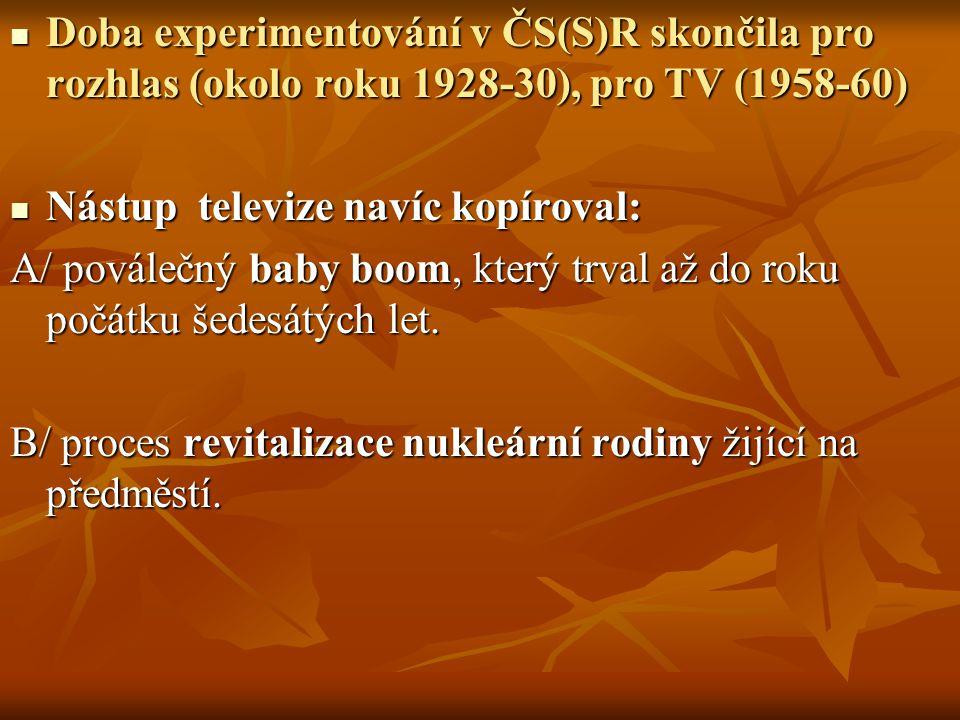 Doba experimentování v ČS(S)R skončila pro rozhlas (okolo roku 1928-30), pro TV (1958-60)
