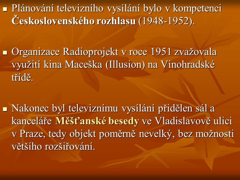 Plánování televizního vysílání bylo v kompetenci Československého rozhlasu (1948-1952).