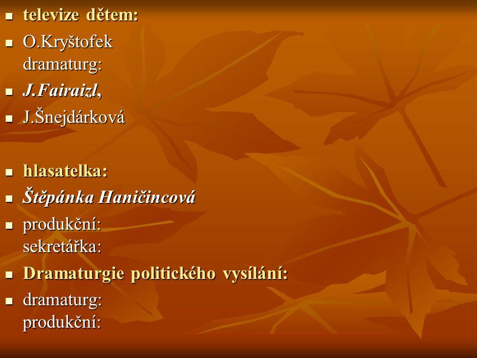 televize dětem: O.Kryštofek dramaturg: J.Fairaizl, J.Šnejdárková. hlasatelka: Štěpánka Haničincová.