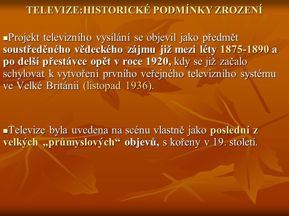 TELEVIZE:HISTORICKÉ PODMÍNKY ZROZENÍ