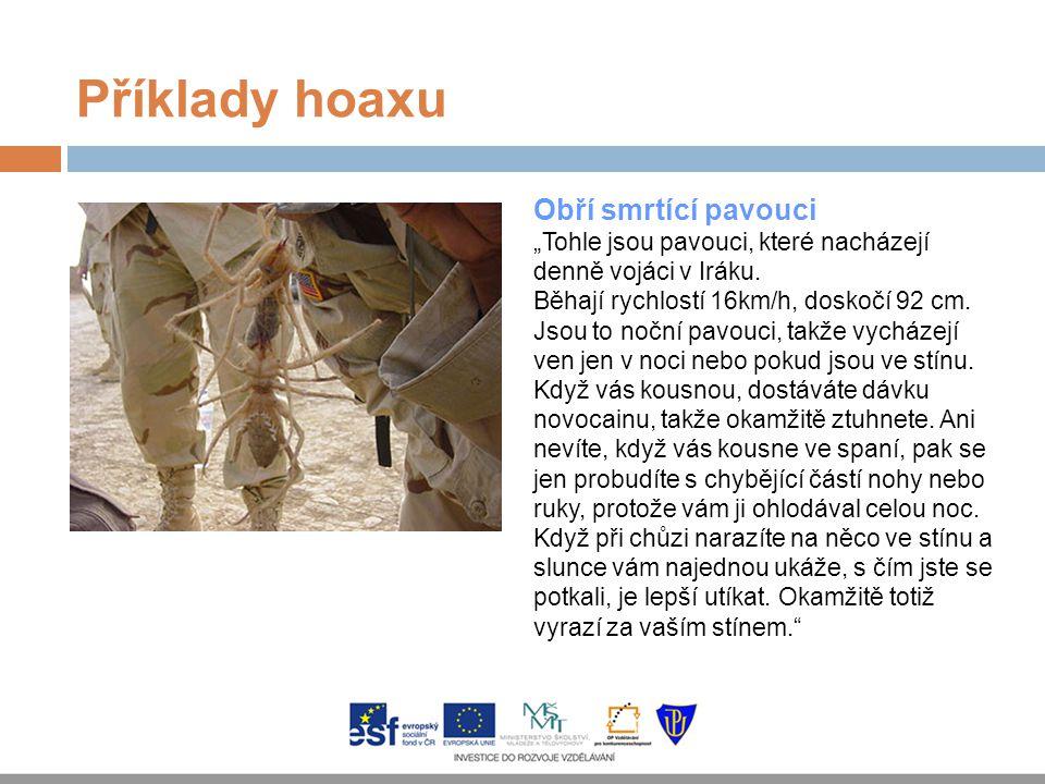 Příklady hoaxu Obří smrtící pavouci