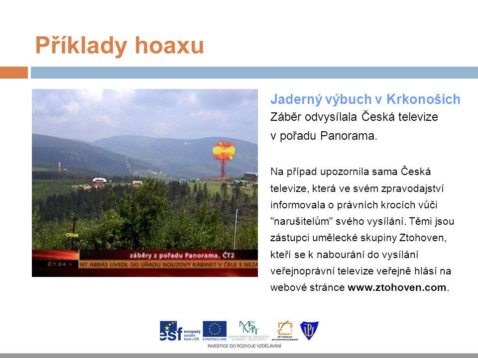 Příklady hoaxu Jaderný výbuch v Krkonoších