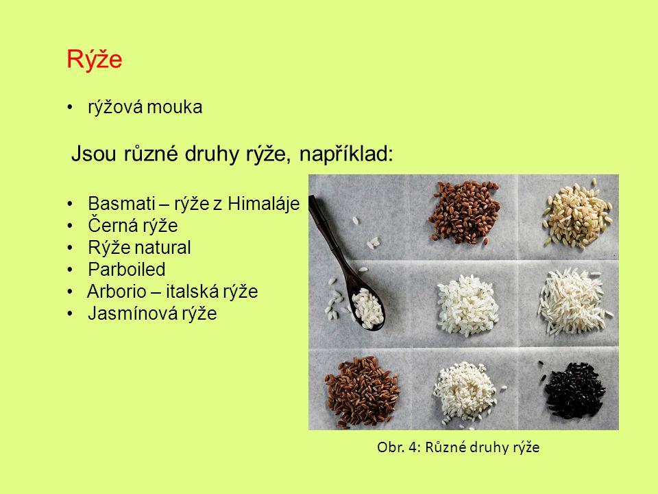 Rýže rýžová mouka Jsou různé druhy rýže, například: