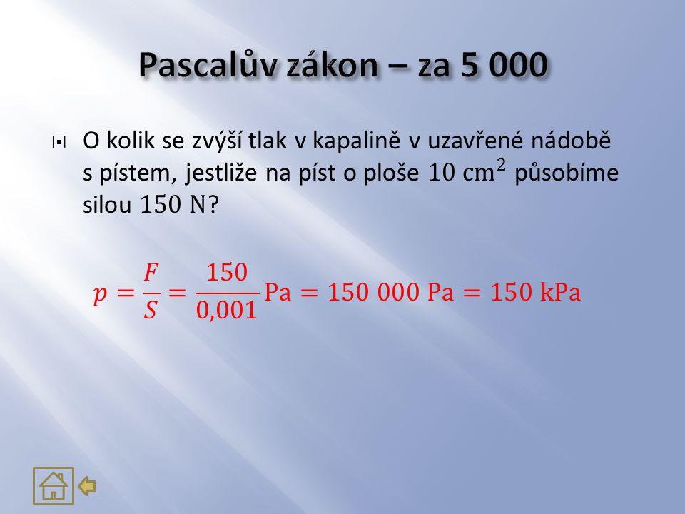 Pascalův zákon – za 5 000 O kolik se zvýší tlak v kapalině v uzavřené nádobě s pístem, jestliže na píst o ploše 10 cm 2 působíme silou 150 N