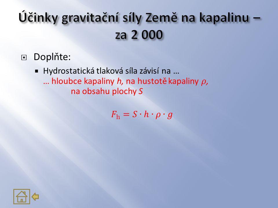 Účinky gravitační síly Země na kapalinu – za 2 000