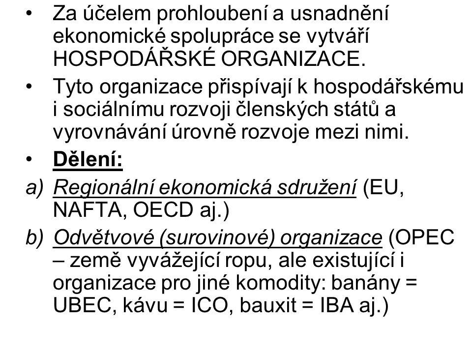 Za účelem prohloubení a usnadnění ekonomické spolupráce se vytváří HOSPODÁŘSKÉ ORGANIZACE.
