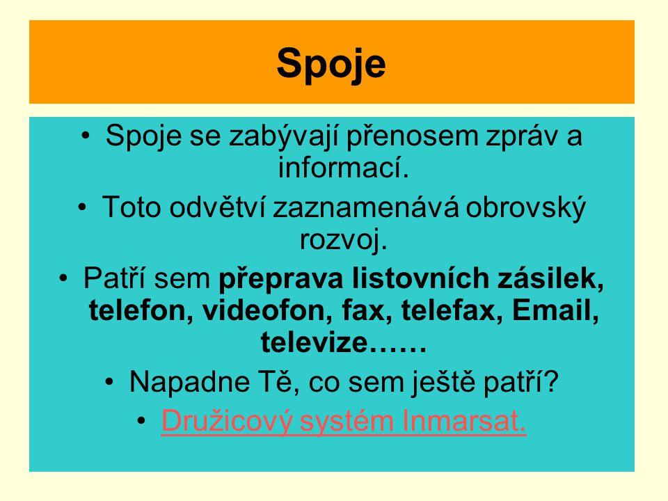 Spoje Spoje se zabývají přenosem zpráv a informací.