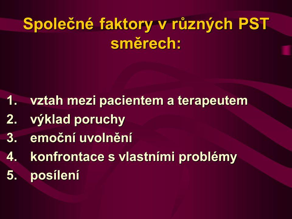 Společné faktory v různých PST směrech: